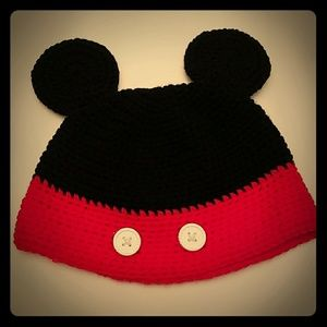 Cute Minnie Micky Mouse ears knit hat red black